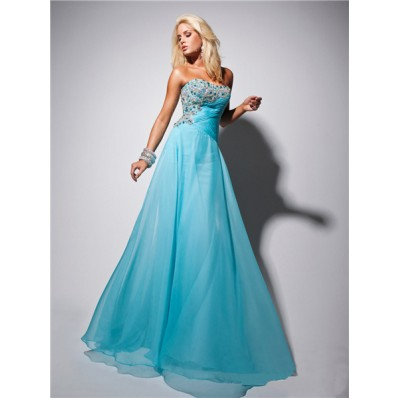 Elegant Strapless Long Light Blue Chiffon Prom Dress With Beading