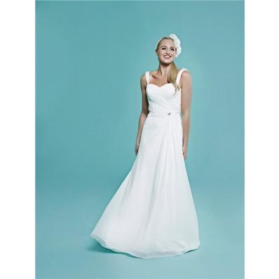 Elegant Sweetheart Cowl Open Back Ruched Chiffon Wedding Dress With Straps