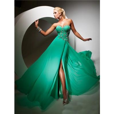 Elegant Sweetheart Long Emerald Green Chiffon Evening Prom Dress With Beading
