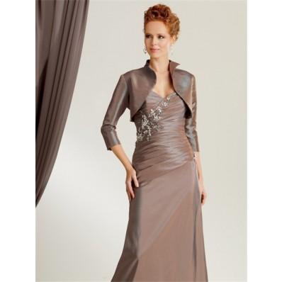 860494cbb7a Elegant mermaid sweetheart floor length brown taffeta mother of the bride  dress with jacket