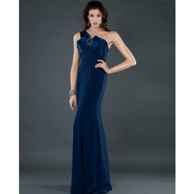 Elegant sheath one shoulder long navy blue chiffon evening ...