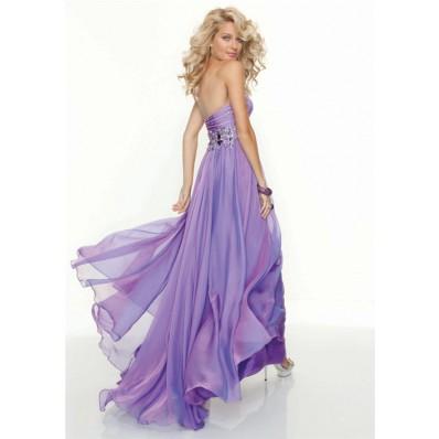 Elegant sweetheart floor length lilac chiffon prom dress with beading