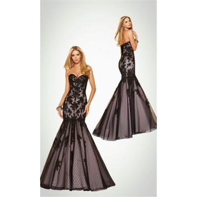 Fashion Mermaid Strapless Blush Pink Satin Black Tulle Lace Corset Prom Dress
