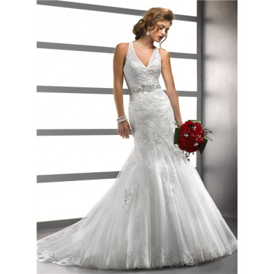 Fashion Sexy Mermaid V Neck Tulle Lace Wedding Dress With Straps Backless