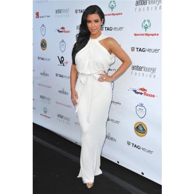 Fashion Unusual Long kim kardashian white dress With Sash