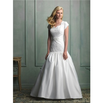 Fit And Flare Mermaid Cap Sleeve Lace Taffeta Modest Wedding Dress With Pearls Belt