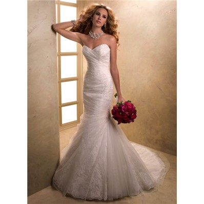 fit mermaid sweetheart lace tulle wedding dress with