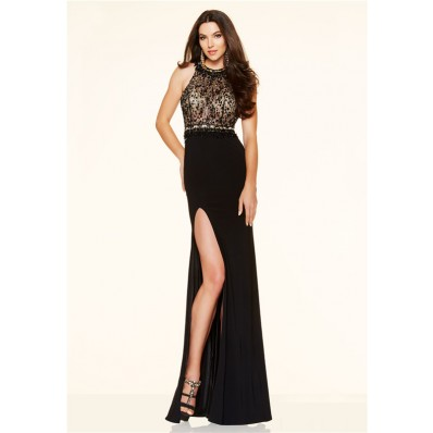 Fitted Backless High Slit See Through Long Black Beaded