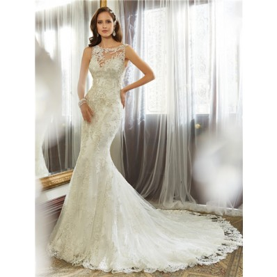 Fitted mermaid bateau neckline keyhole backless lace for Fitted mermaid wedding dresses