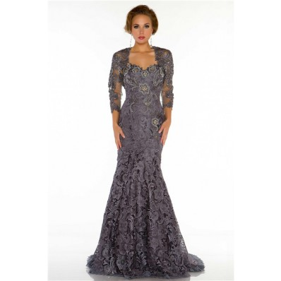 formal mermaid sweetheart long charcoal grey lace beaded