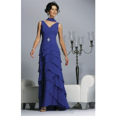 Formal Sheath V Neck Long Blue Chiffon Tiered Mob Women