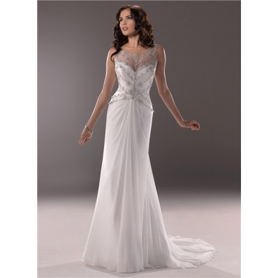 492a93e9 Georgette Sheath Illusion Bateau Neckline Chiffon Wedding Dress With Beading  Crystal