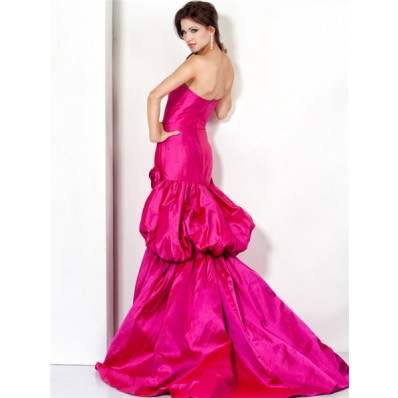 glamorous strapless long fuchsia satin evening prom dress