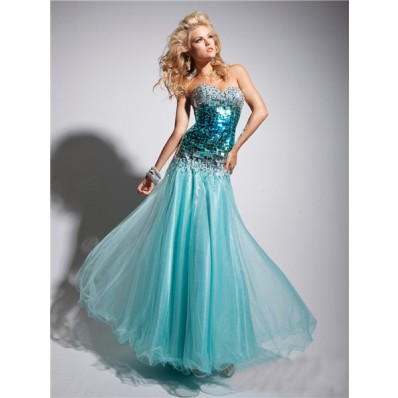 Gorgeous A Line Princess Sweetheart Long Light Blue Crystal Tulle Prom Dress With Beaded