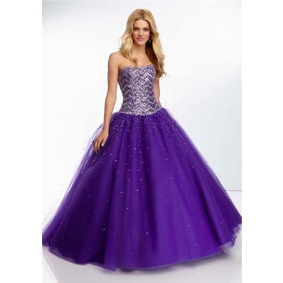 gorgeous ball gown strapless long purple tulle beaded