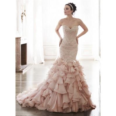 Gorgeous Mermaid Strapless Blush Pink Organza Ruffle Crystal Beaded Wedding Dress