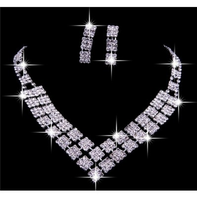 Gorgeous Shining Rhinestones Wedding Bridal Jewelry Set,Including Necklace And Earrings