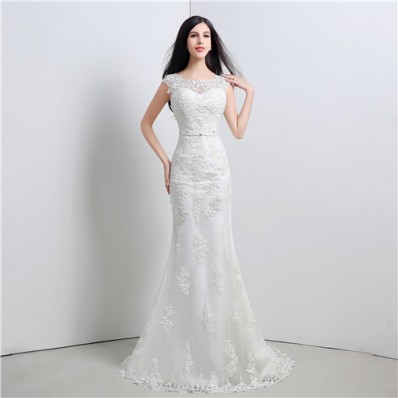 Graceful Mermaid V Back Cap Sleeve Venice Lace Wedding Dress With Bow Sash