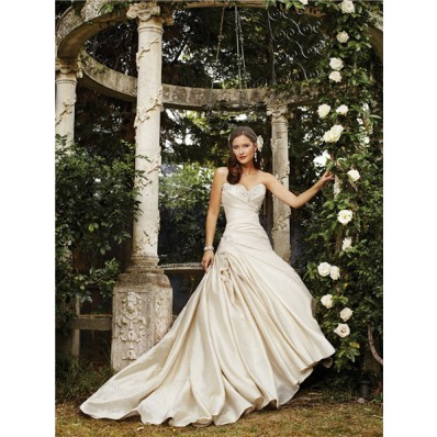 Hollywood Ball Gown Sweetheart Corset Back Draped Ivory Satin Wedding Dress