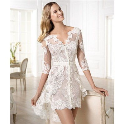 Informal Casual Modern High Low Short Sleeve Lace Wedding Dress With Belt