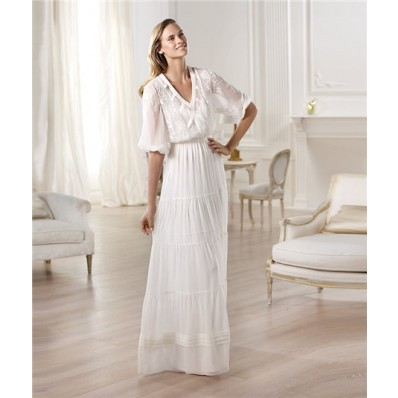 Informal casual sheath v neck short sleeve chiffon garden for Casual sheath wedding dresses