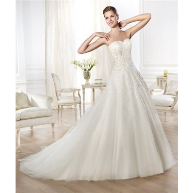Latest Princess A Line Sweetheart Draped Tulle Beaded Lace Wedding Dress