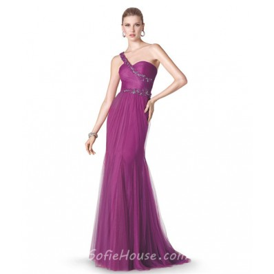 Mermaid One Shoulder Strap Long Purple Tulle Occasion Prom ...