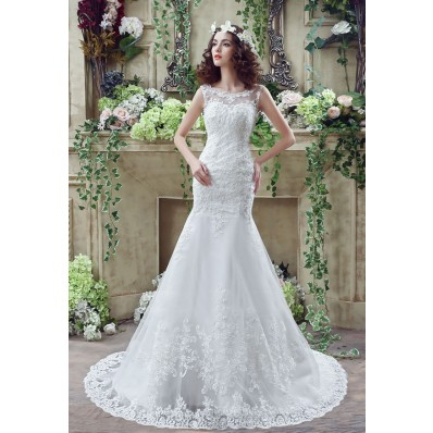 Mermaid Scoop Neck Low V Back Sleeveless Lace Wedding Dress With Buttons