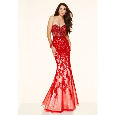 Mermaid Strapless Sweetheart Low Back Red Lace Applique Beaded Prom ...