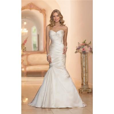 mermaid sweetheart ivory satin ruched wedding dress corset