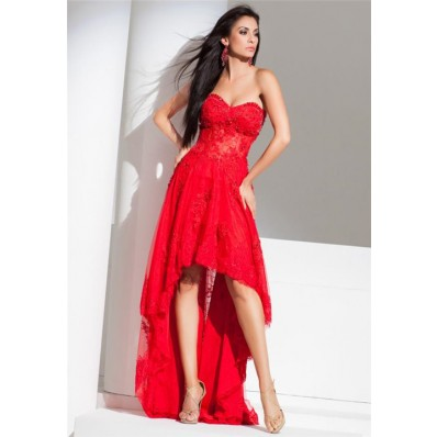 modern high low strapless red tulle lace beaded corset