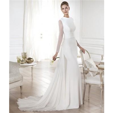 Modest A Line Scoop Neck Satin Chiffon Long Sleeve Wedding Dress With Detachable Train
