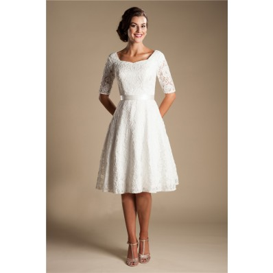 Modest A Line Short Sleeve Lace Corset Wedding Dress With Sash