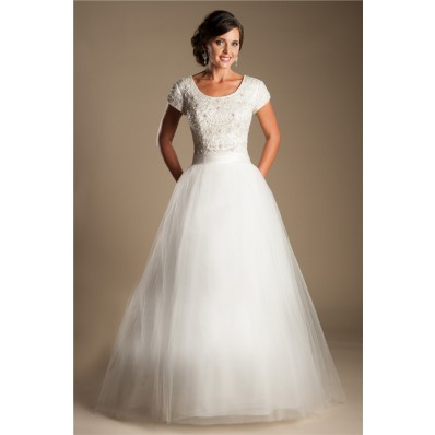 Modest Ball Gown Scoop Neck Short Sleeve Tulle Beaded Wedding Dress With Belt