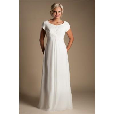 Modest Empire Waist Chiffon Beaded Destination Beach Wedding Dress With Sleeves