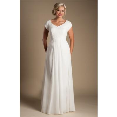 Modest Sheath Sleeve Lace Chiffon Destination Beach Wedding Dress Without Train