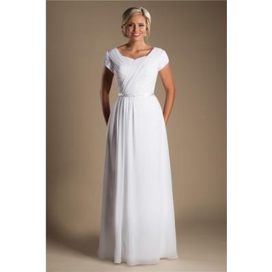 Modest Sheath Sleeve Ruched Chiffon Destination Beach Wedding Dress With Belt