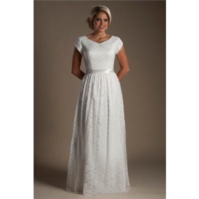 Modest Sheath V Neck Cap Sleeve Lace Destination Wedding Dress Without Train