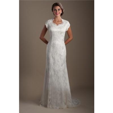 Modest Trumpet Mermaid Queen Anne Neckline Cap Sleeve Lace Wedding Dress