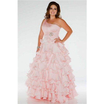 Pretty Ball Gown One Shoulder Long Blush Pink Silk Ruffles Plus Size Prom Dress