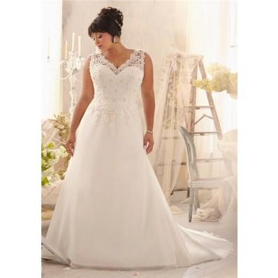 princess a line v neck organza lace plus size wedding