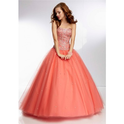 princess ball gown strapless long coral tulle beaded prom