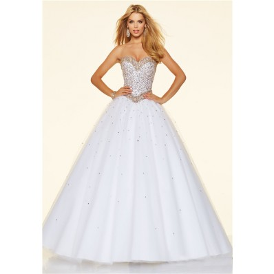 princess ball gown strapless white tulle beaded prom dress
