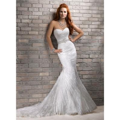 romantic mermaid sweetheart corset back lace wedding dress