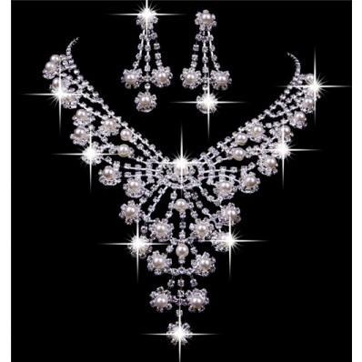 Royal Shining Pearls Rhinestones Wedding Bridal Jewelry Set,Including Necklace and Earrings
