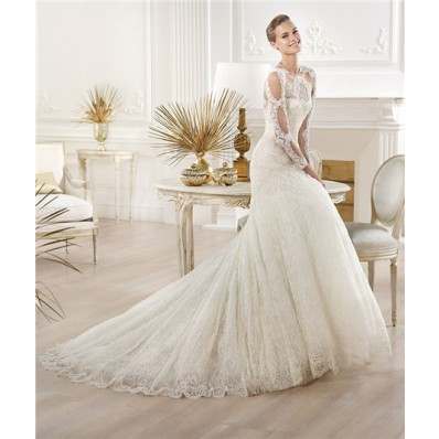 Sexy A Line Scoop Neck Sheer See Through Long Sleeve Lace Wedding Dress With Buttons