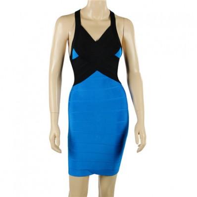 Sexy Halter V Neck Backless Short Mini Royal Blue Black Bandage Bodycon Party Dress