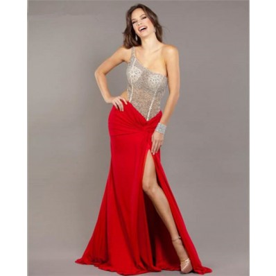 Sexy One Shoulder Side Cut Out Long Red Chiffon Beaded