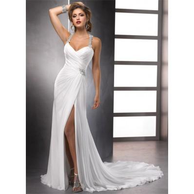 Sexy Sheath Straps Beaded Crystals Chiffon Summer Wedding Dresses With Slit