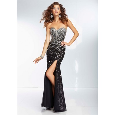 sexy sheath sweetheart long black silk tulle beaded prom